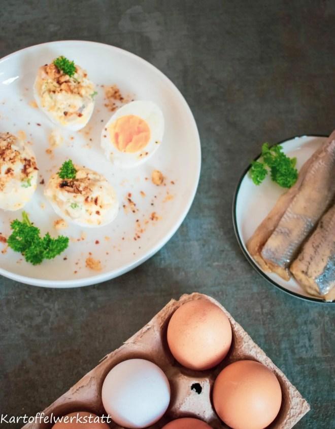 Gubbröra - schwedischer Klassiker, Herringssalat mit Kartoffeln und Ei.