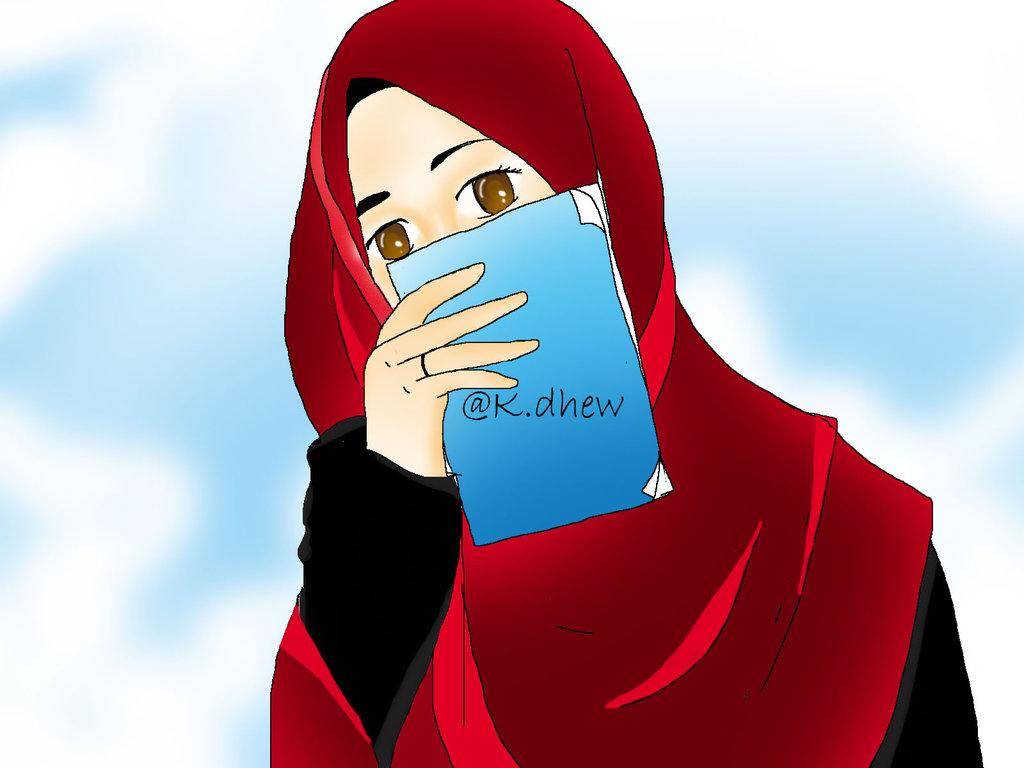 82 Gambar Kartun Muslimah Dengan Kata Kata Cinta HD