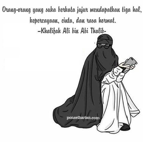 Gambar Kartun Muslimah Bercadar Berkata Jujur