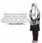 Gambar Kartun Muslimah Bercadar Kuliah