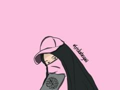 Gambar Kartun Muslimah Bercadar membawa Al Quran