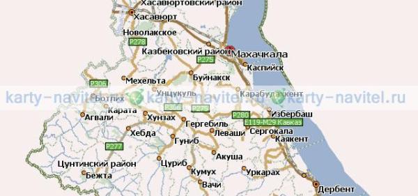 Дагестан республика - карта для Навител скачать бесплатно