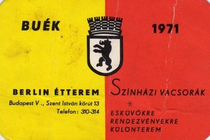 Berlin Étterem (Budapest) - 1971