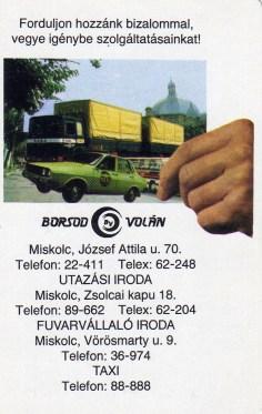 BORSOD VOLÁN - Miskolc (utazás, fuvarozás, taxi) - 1988