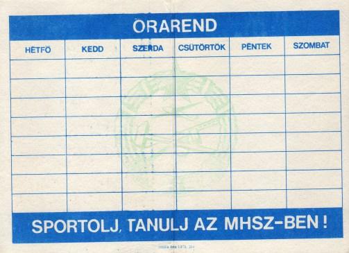 MHSZ (b) - órarend - 1976