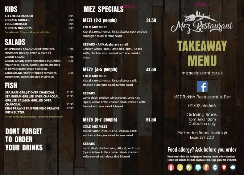 Mez turkish restaurant menu design karubu