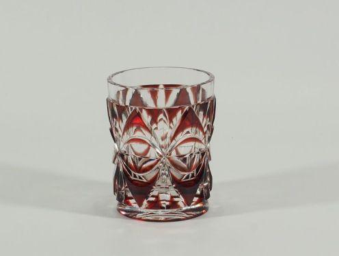 イギリス19世紀「銅赤被せカット・グラス杯」・非売品