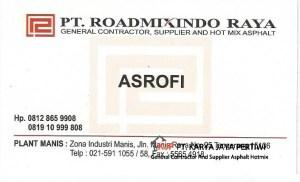 Kartu Nama PT. Roadmixindo Raya