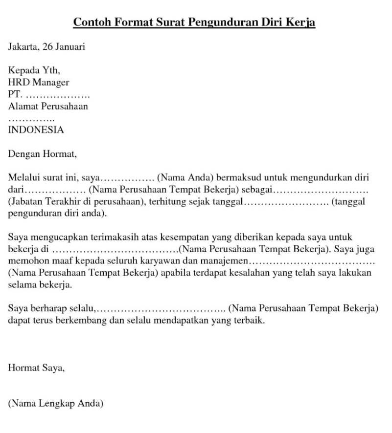 10 Contoh Surat Resign Surat Pengunduran Diri Dan Cara Membuatnya