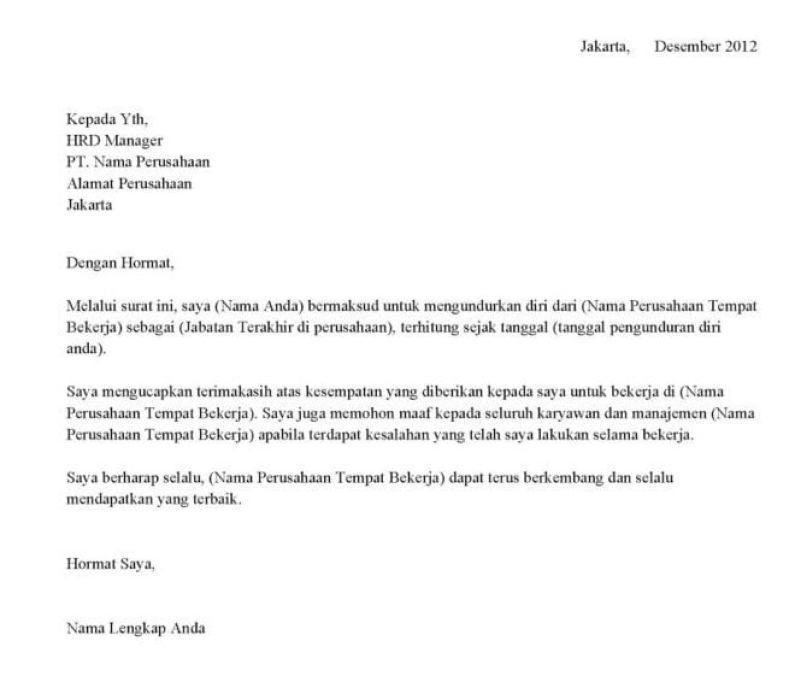 10 Contoh Surat Resign Surat Pengunduran Diri Dan Cara