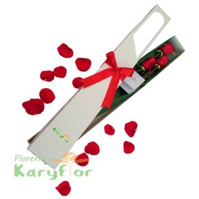 Caja con 3 Rosas incluye lazo rojo, tarjeta dedicatoria y preservante. Pueden adicionar Chocolates y más, ingresando a la opción REGALOS en la parte superior de la Pág. web.