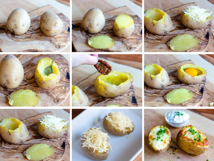 für Backkartoffeln mit Ei und Mozzarella