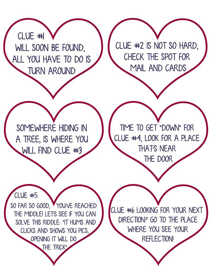 Valentine Scavenger Hunt For Kids Free Printable Clues
