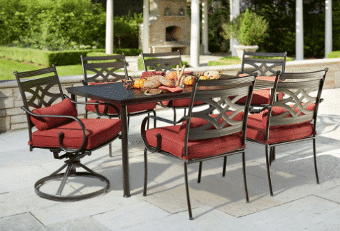 HOT  Patio Furniture Clearance at Home Depot   75  OFF    Kasey Trenum Hampton Bay Middletown 7 Piece Patio Dining Set with Chili Cushions       299 50  Was  599