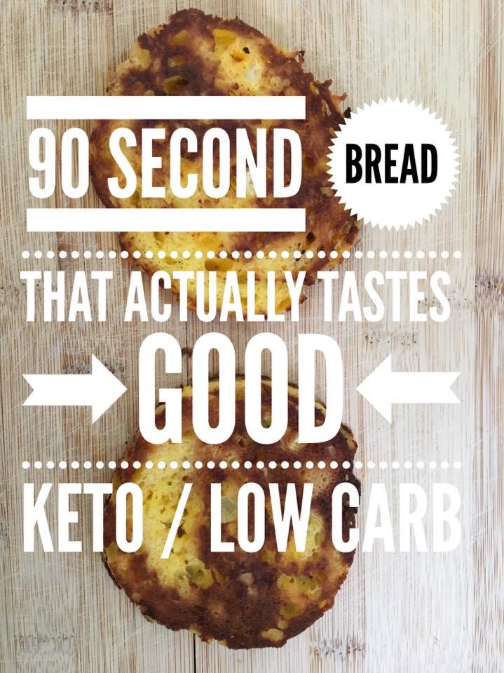 90 second keto bread cut open on a cutting board