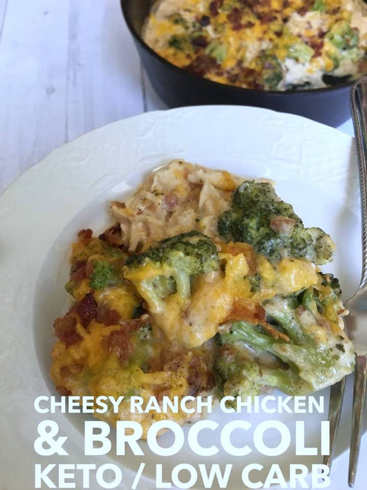 Keto Cheesy Ranch Chicken Bacon Recipe with Broccoli is a favorite family recipe that comes together in minutes and satisfies that craving! A perfect low carb chicken recipe that will fit into your keto diet plan easily!