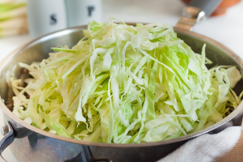 shredded cabbage in a skillet