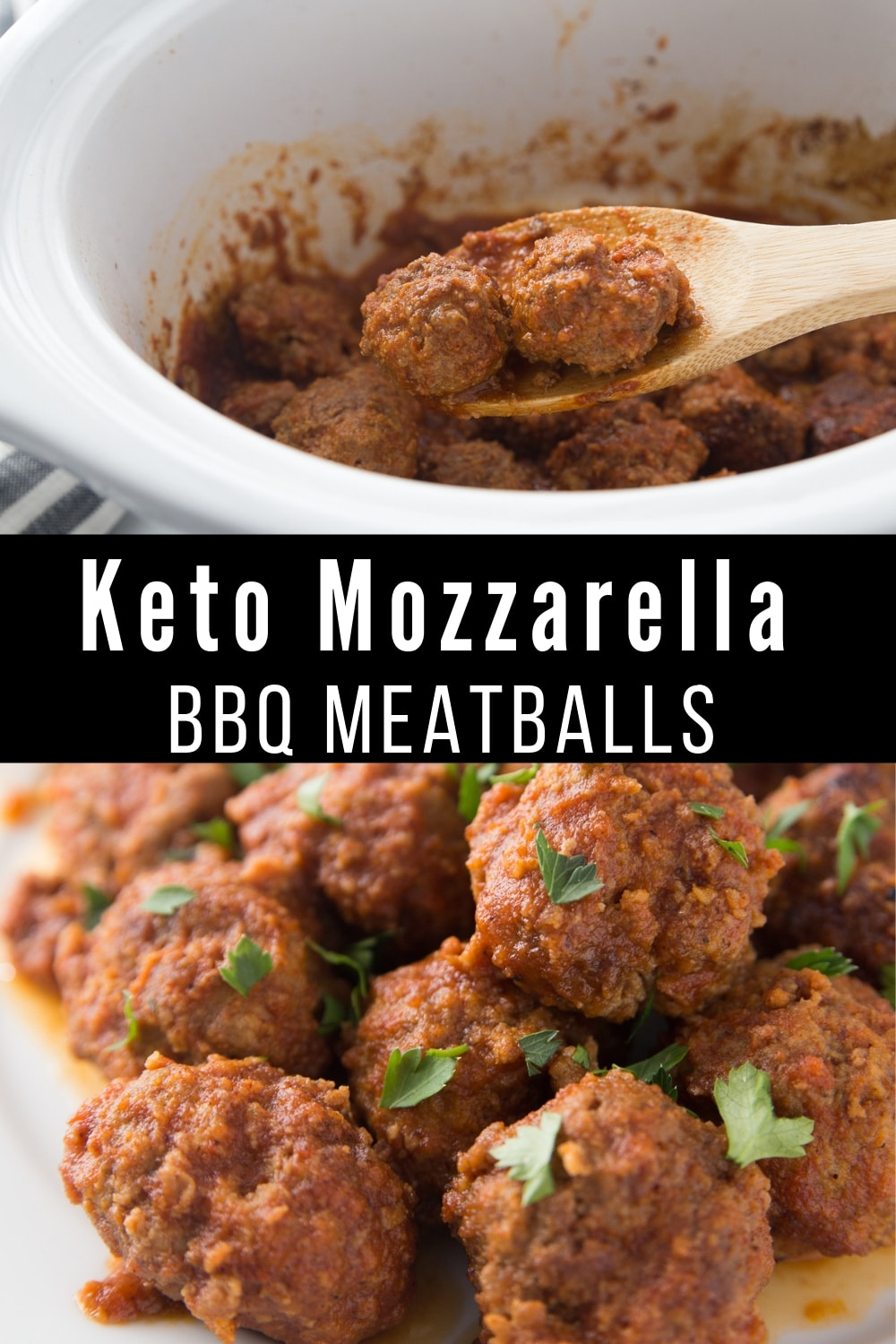 This quick and easy Low Carb recipe for Mozzarella Stuffed BBQ Meatballs is the Keto friendly slow cooker meal that the entire family will love. #keto #lowcarb
