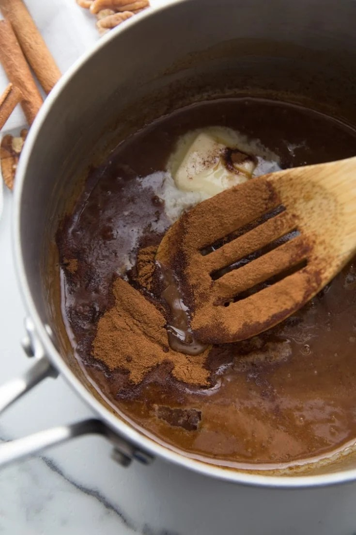 saucepan with cinnamon and butter