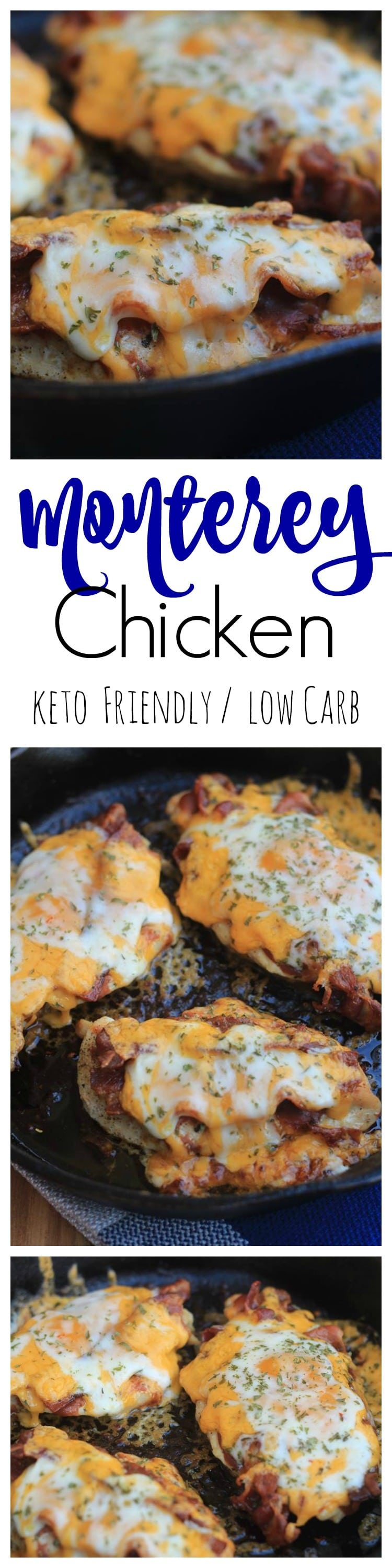 Keto Monterey Chicken is one of our favorite go-to low carb meals that is ready in minutes using the cast iron skillet cooking method! A perfect keto chicken dinner recipe and cast iron skillet meal that everyone will love!