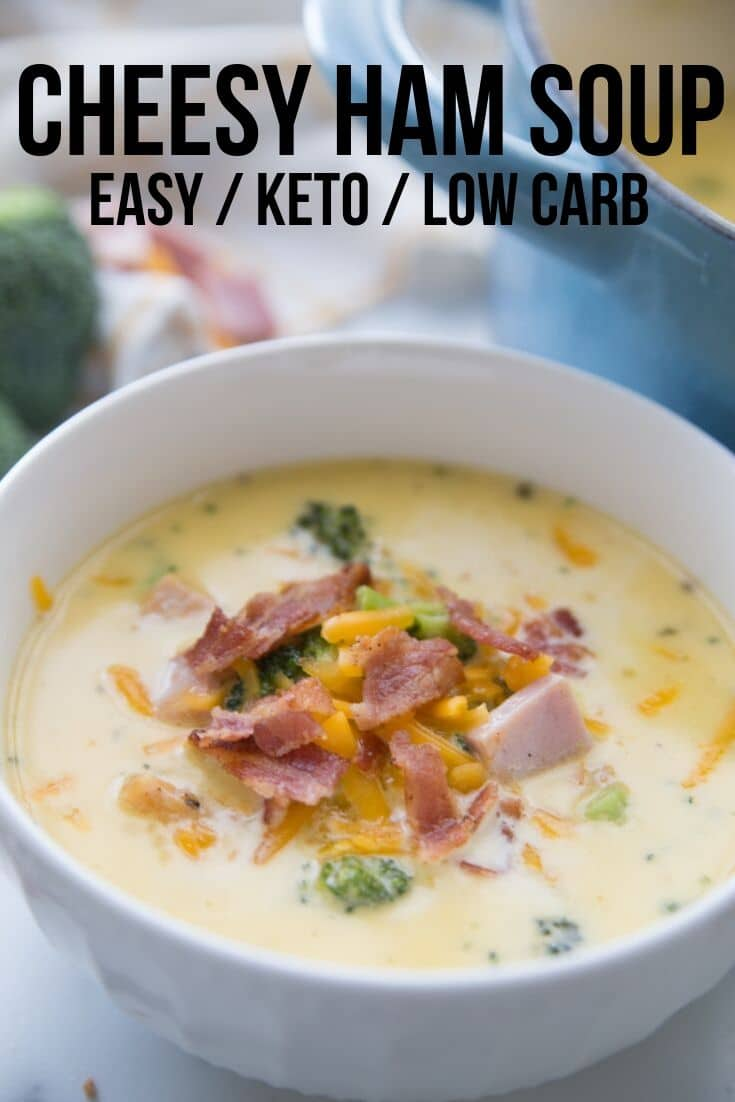 cheesy low carb ham soup in a bowl topped with cheese and bacon