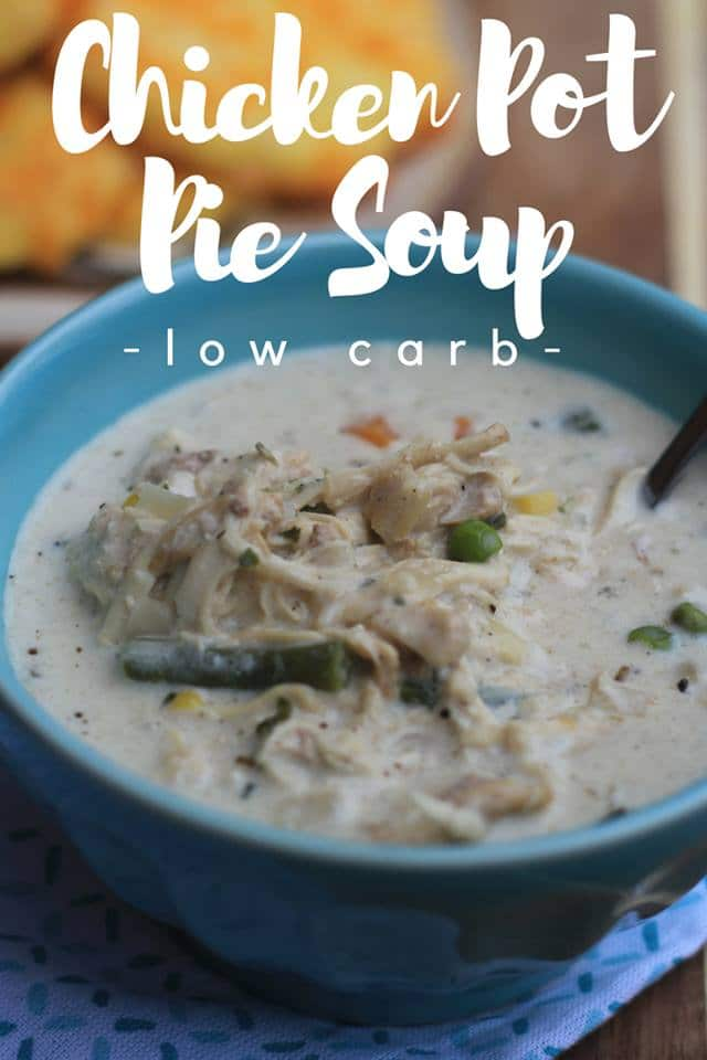 Our Low Carb Chicken Pot Pie Soup is a perfect comfort food recipe that easily fits into your keto diet lifestyle! A yummy keto soup is perfect for fall!