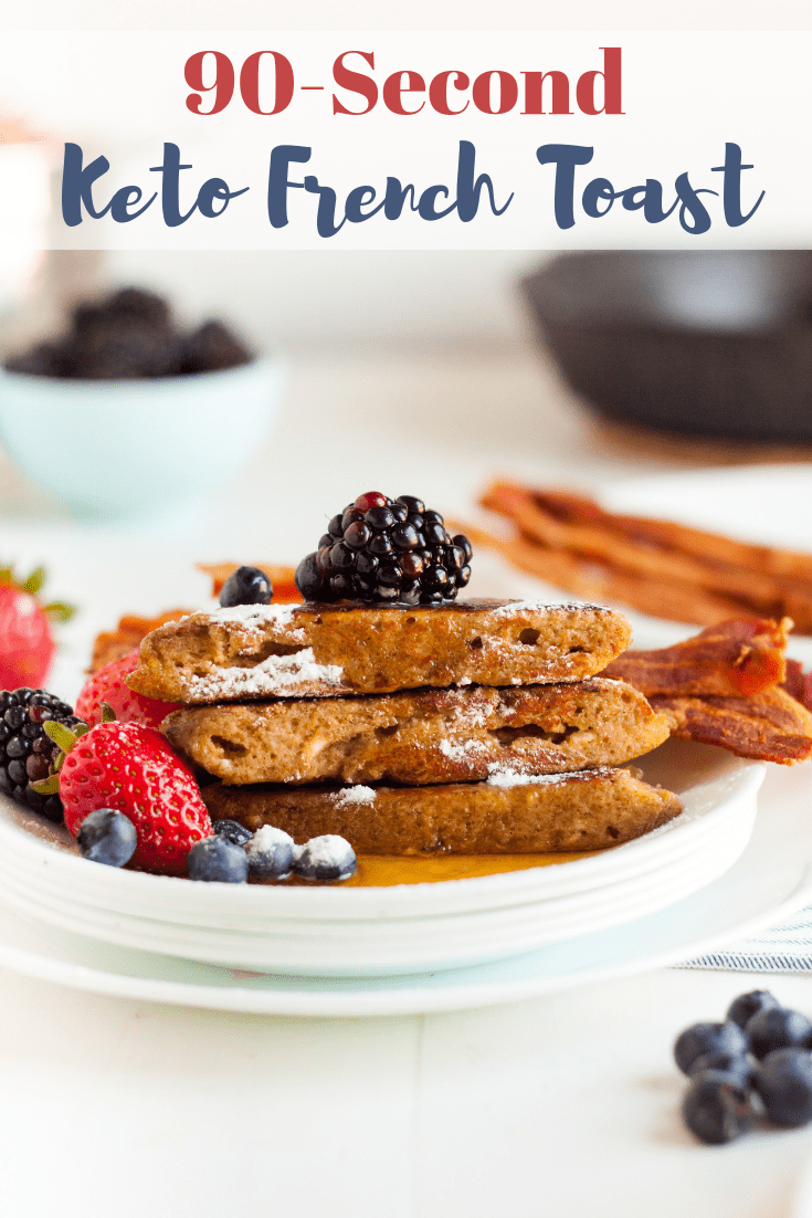 keto French toast plated with sugar free syrup and fruit