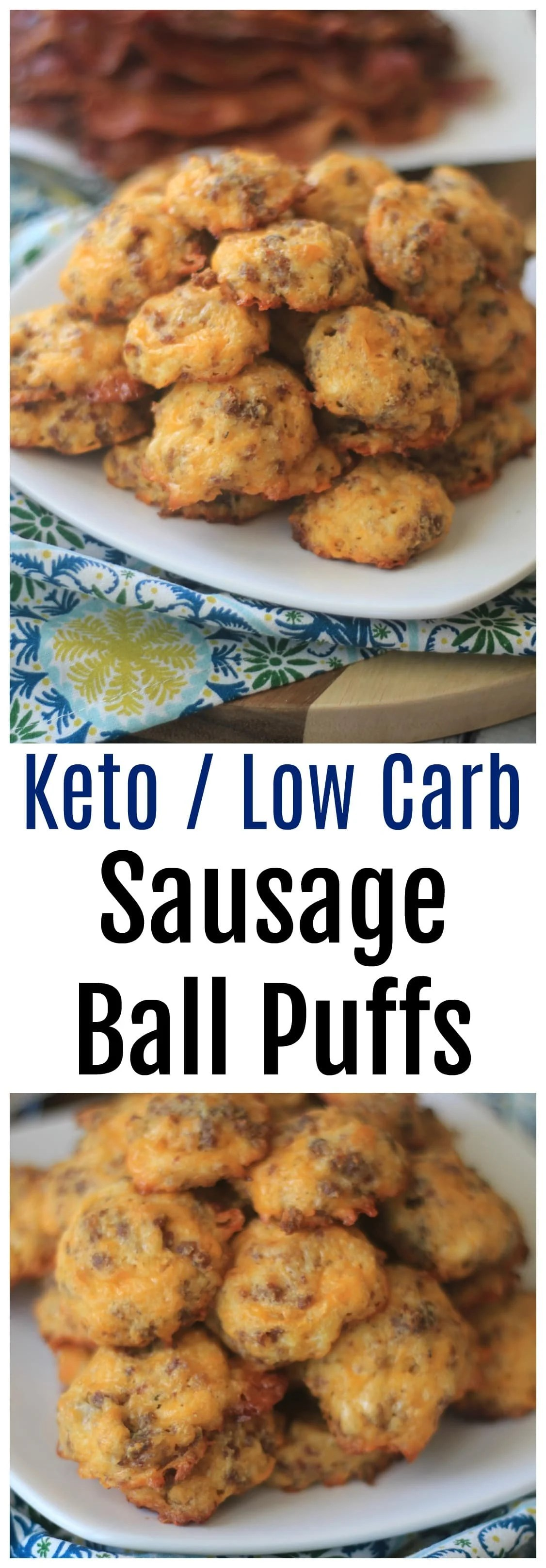 keto breakfast low carb sausage biscuits collage