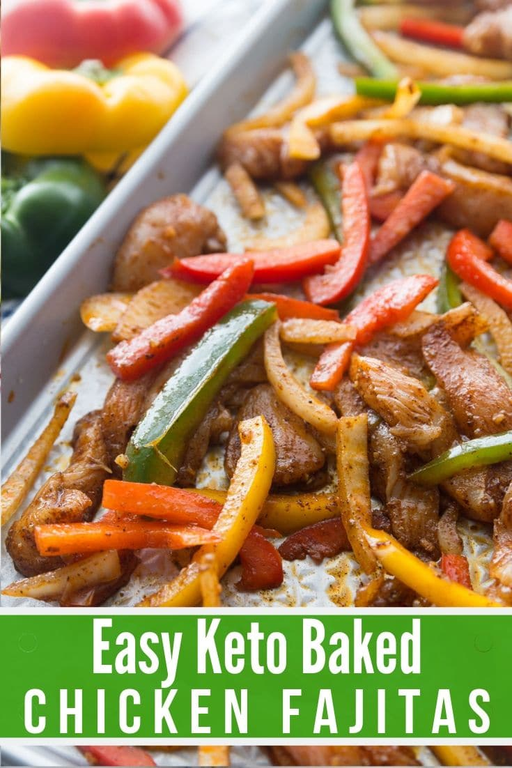 baked keto chicken fajitas on a sheet pan
