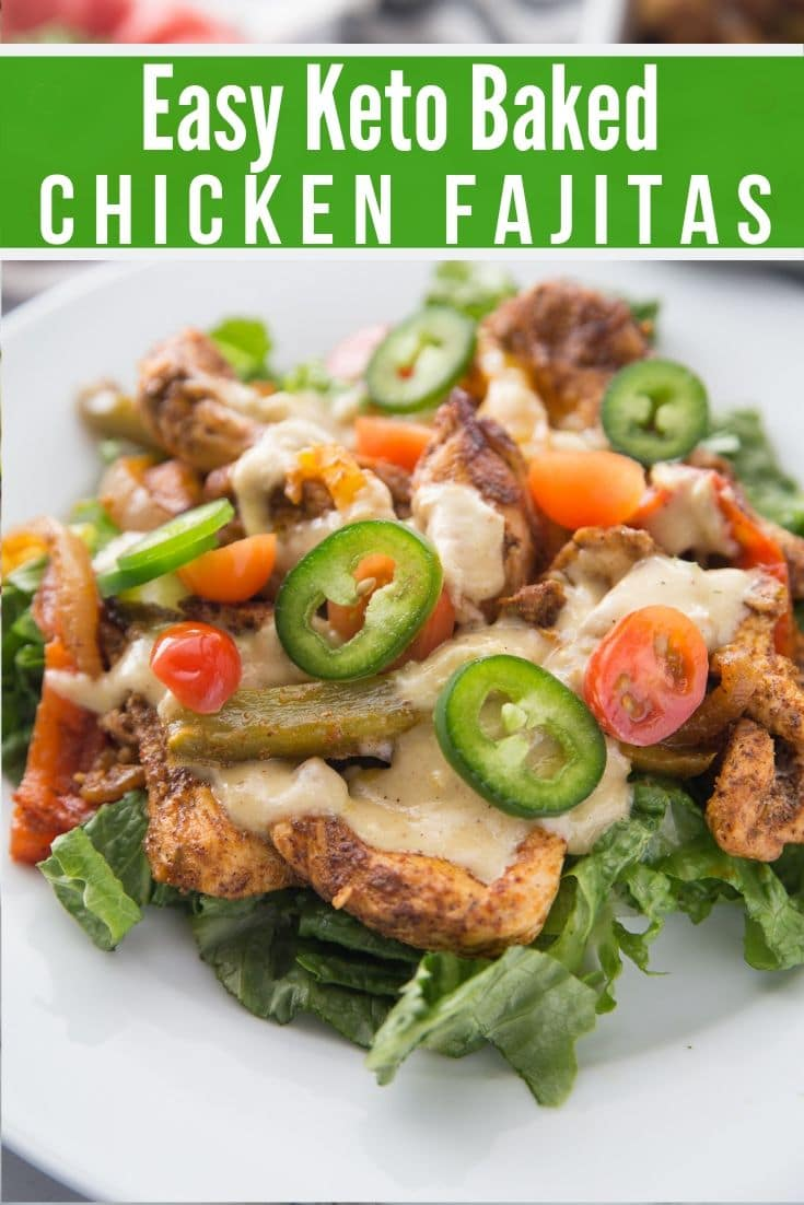 low carb chicken fajitas on a plate with Keto Queso poured on top