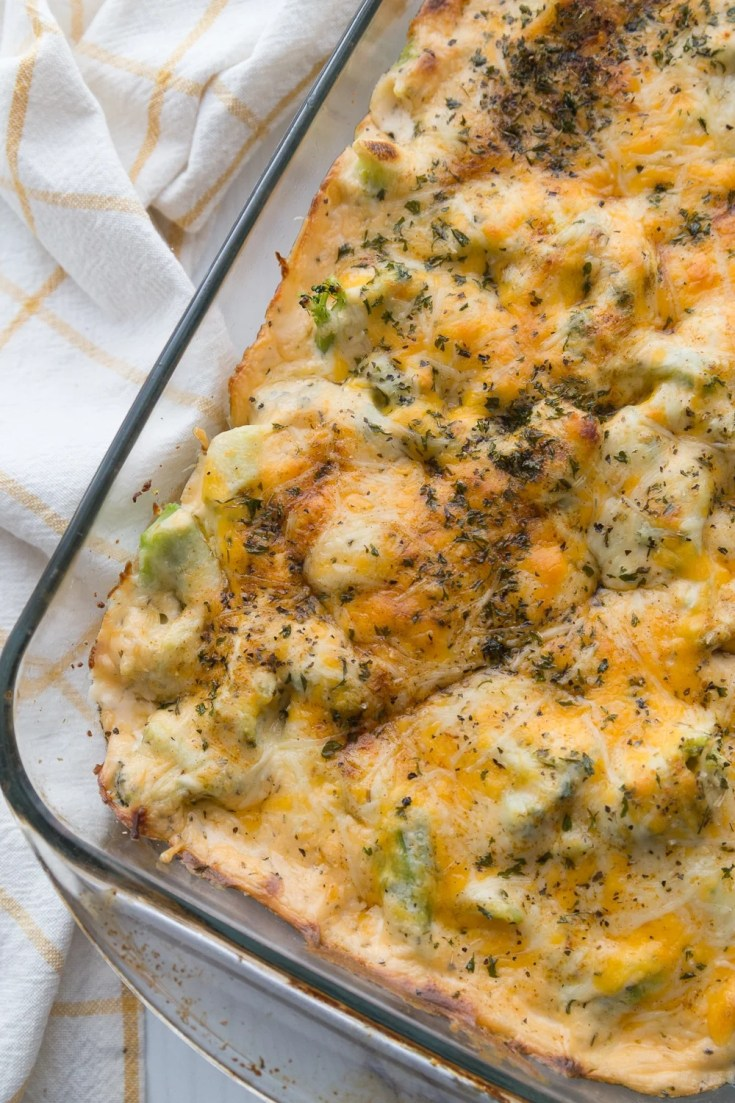 Low Carb Chicken Casserole in a glass measuring pan
