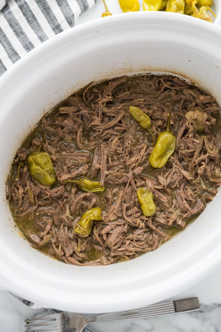 keto Mississippi pot roast in the crock pot shredded