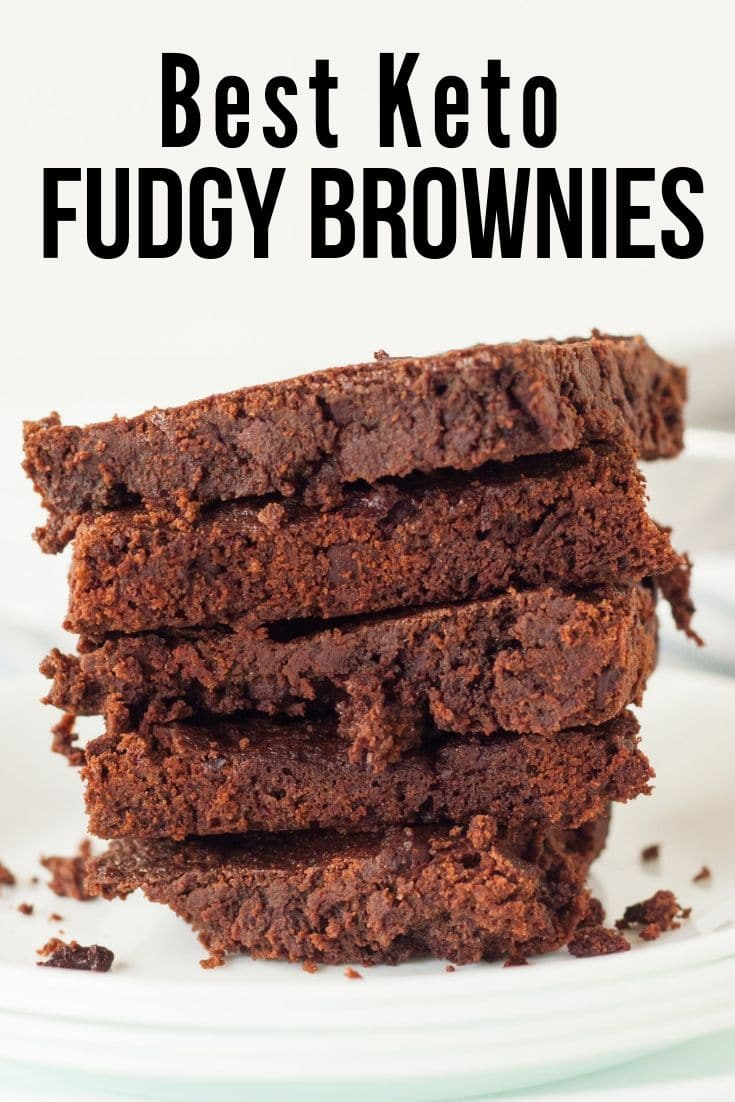 low carb brownies cut in square on a plate