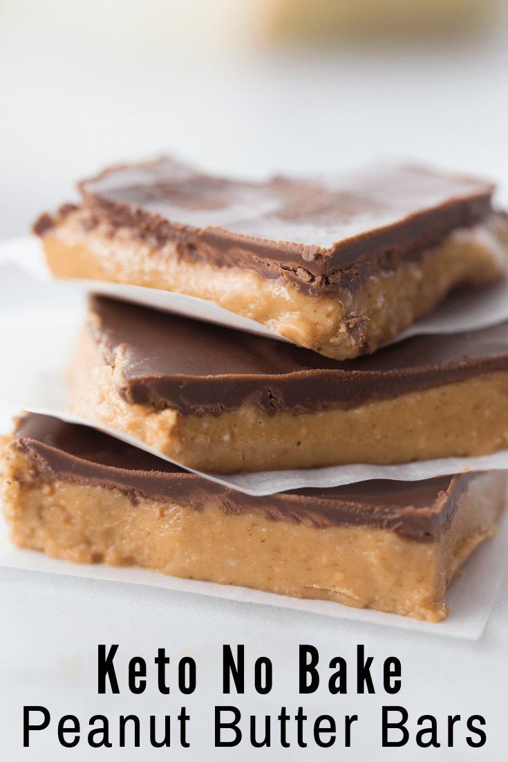 No Bake Keto Peanut Butter Chocolate Bars | Kasey Trenum