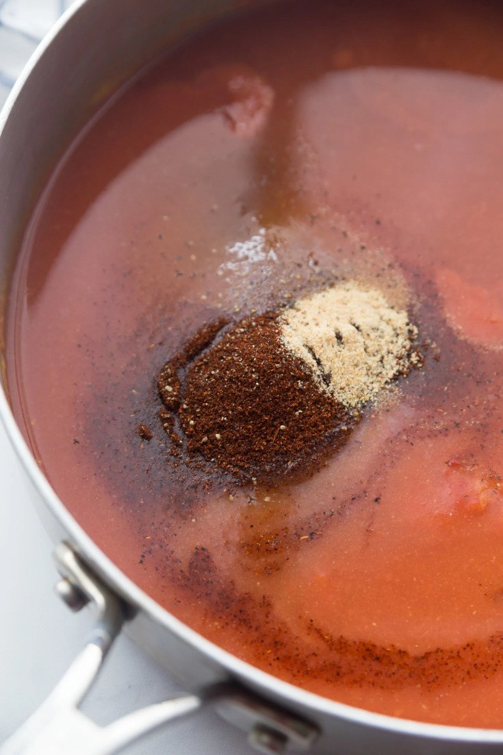 sugar-free bbq sauce in a pot with spices