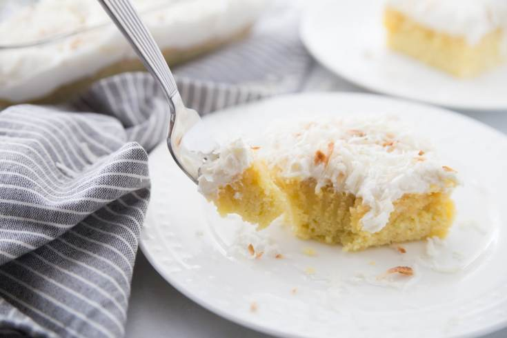 Bite of keto coconut cake on a fork