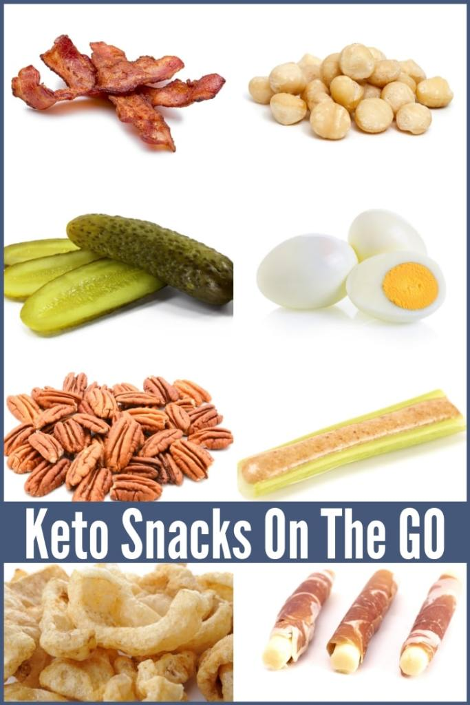 pictures of several different keto snacks for on the go.