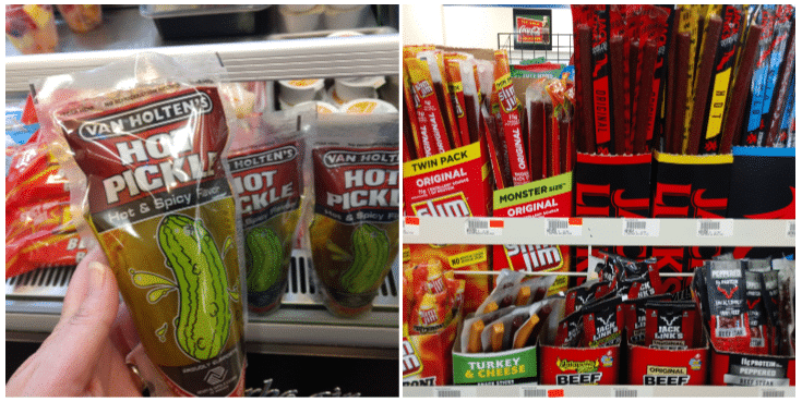 Collage picture of keto friendly gas station snacks with a pickle and beef jerky
