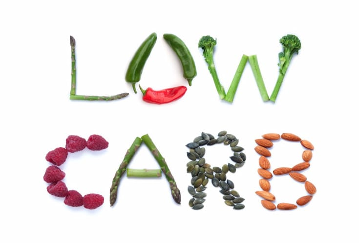 Fruits, vegetables and seeds spelling the word low carb for low carb vs keto info
