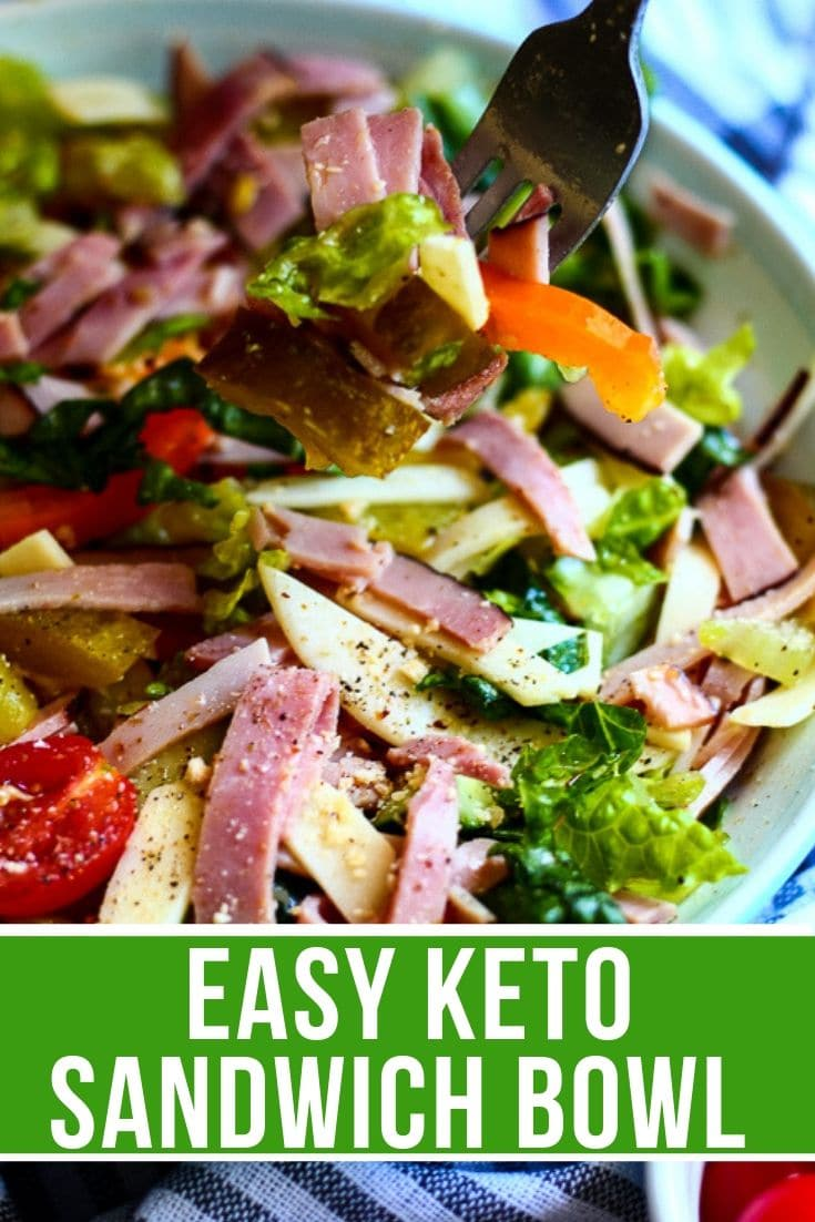 keto sandwich bowl in a bowl with a bite on a fork