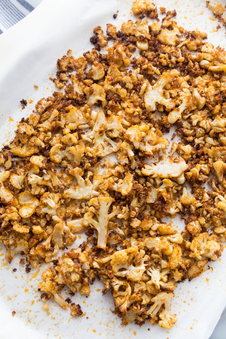 Roasted cauliflower recipe on parchment paper
