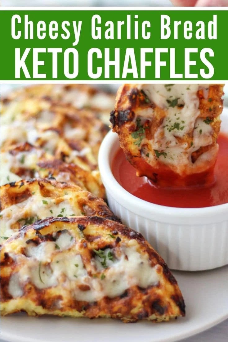 garlic bread Keto Chaffles plated with a tomato dipping sauce