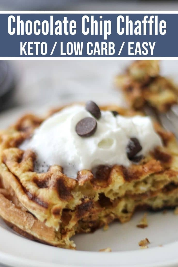 chocolate chip chaffle keto recipe plated with whipped cream and sugar free chocolate chips on top