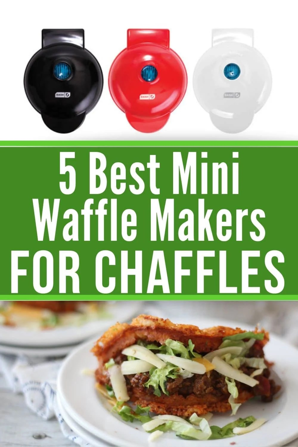 collage of mini waffle makers for Chaffles