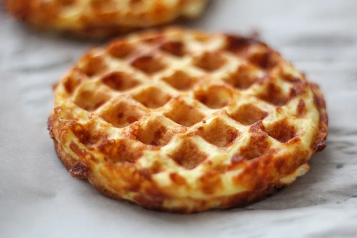 picture of two chaffles on parchment paper