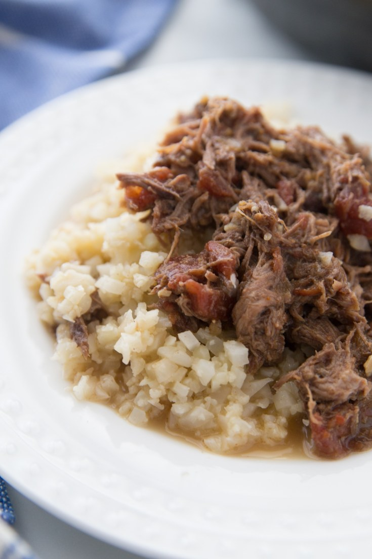 Mexican pot roast low carb recipe with cauliflower rice plated
