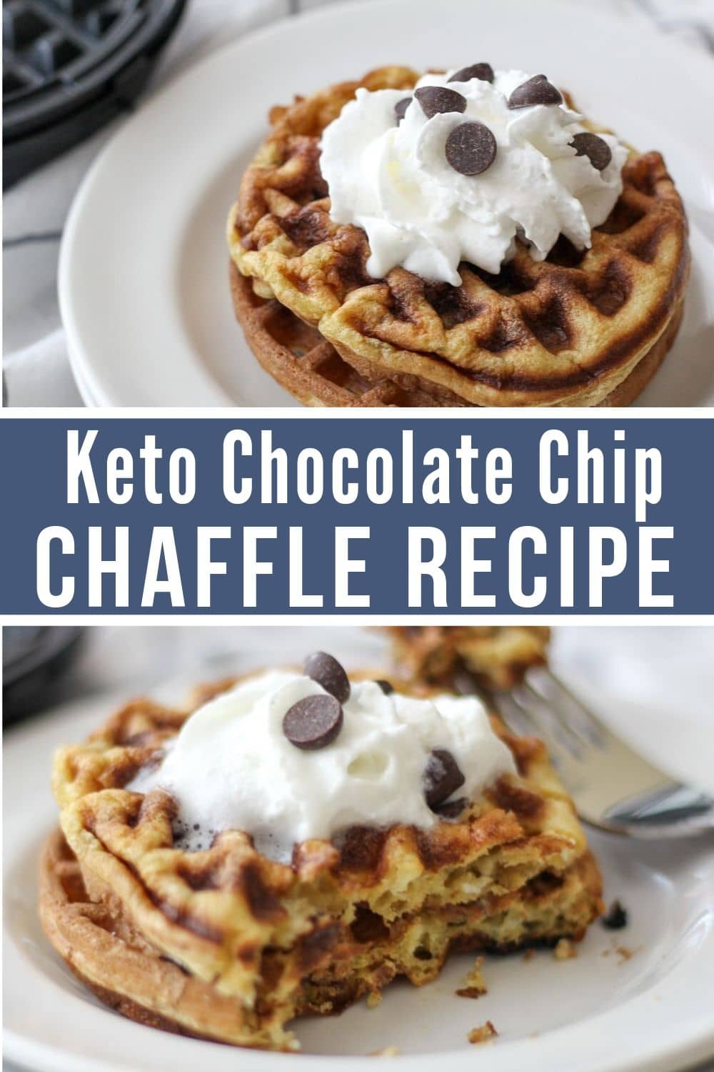 collage of chocolate chip keto dessert chaffle