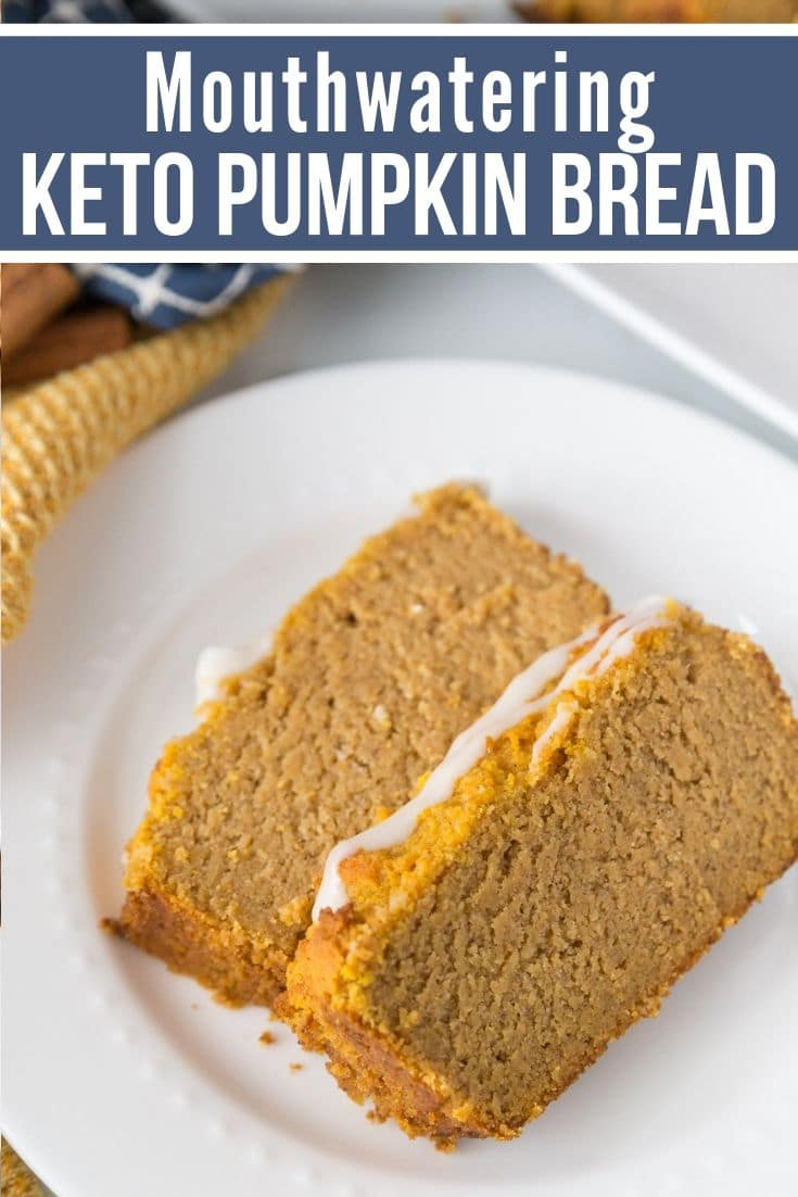 keto pumpkin bread plated with a glaze on top