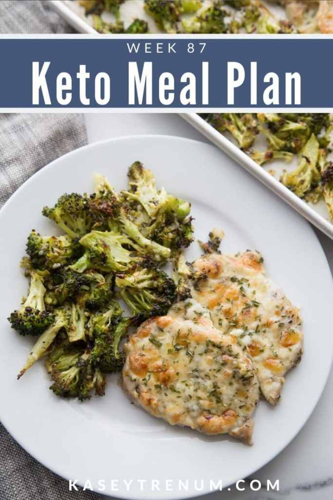 Keto Chicken and Broccoli on white plate Meal Plan