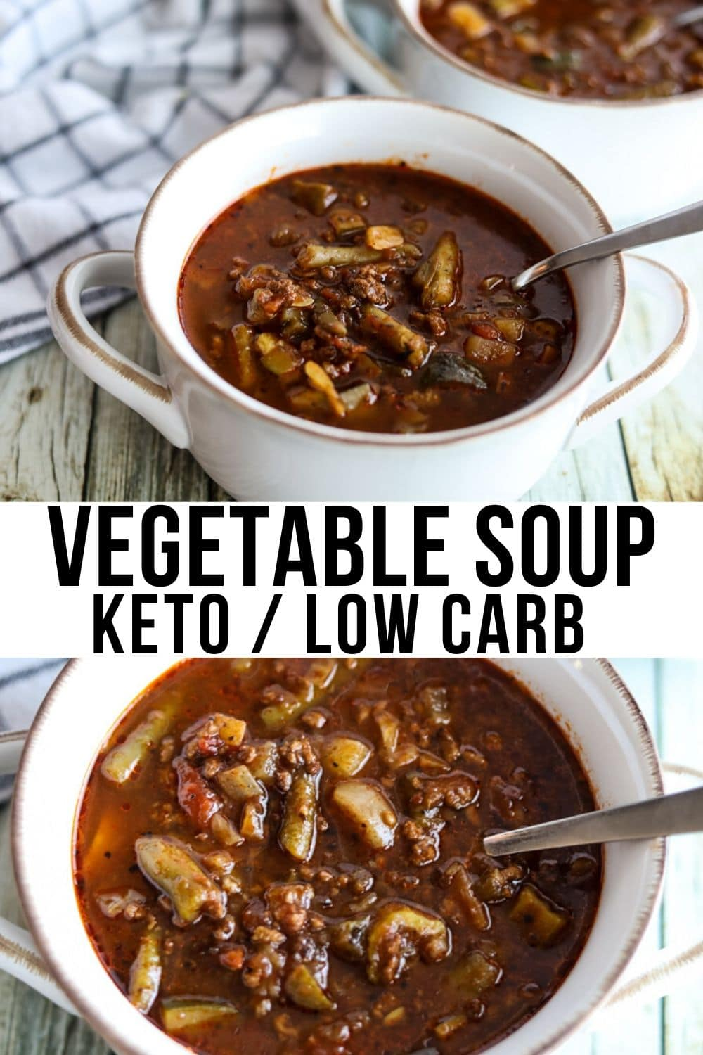 collage of two pictures with low carb vegetable soup in a white bowl